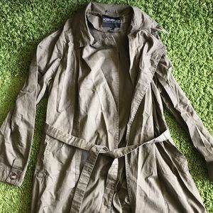 Army green olive trench coat with collar and tie